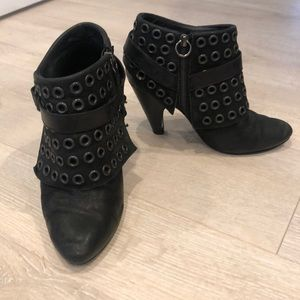 ASH black leather bootie with grommets